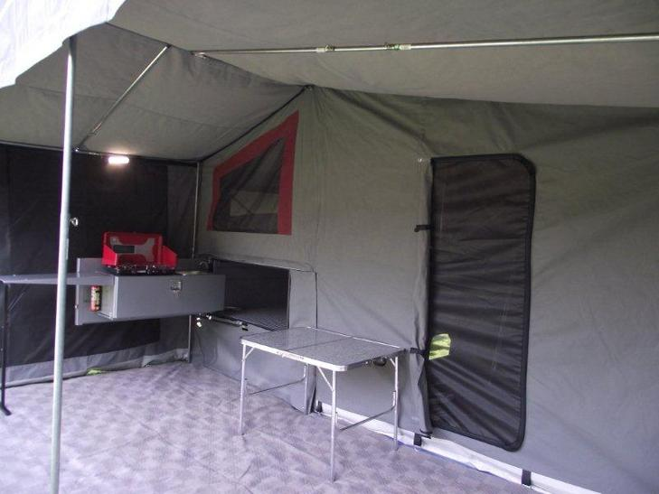 Tailgate kitchen under awning