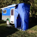 External shower/toilet tent with hard roof and floor