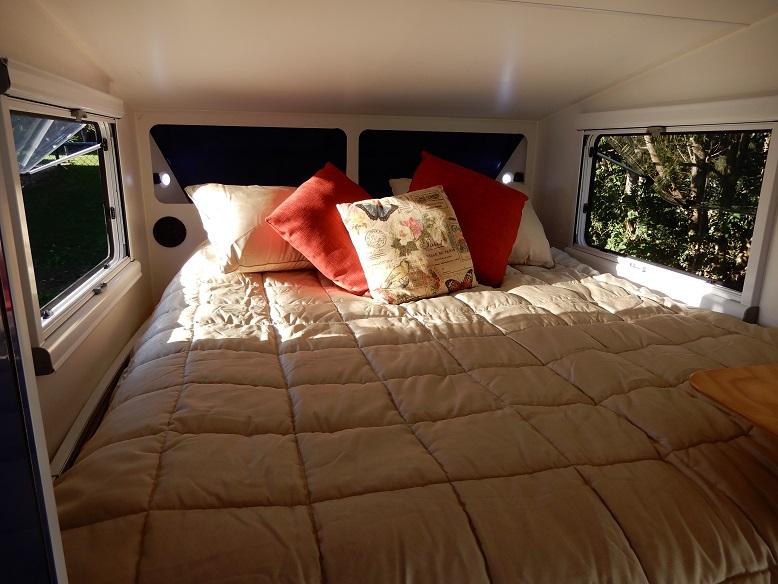 Queen bed inside