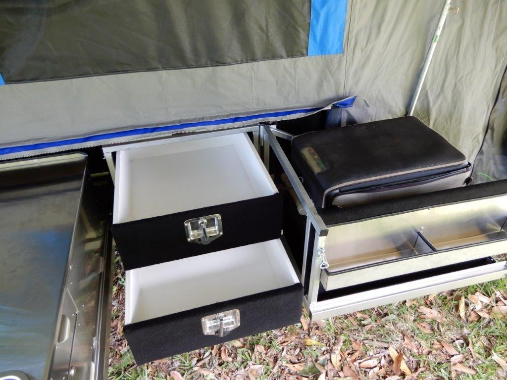 Large pantry drawers + swing-away fridge