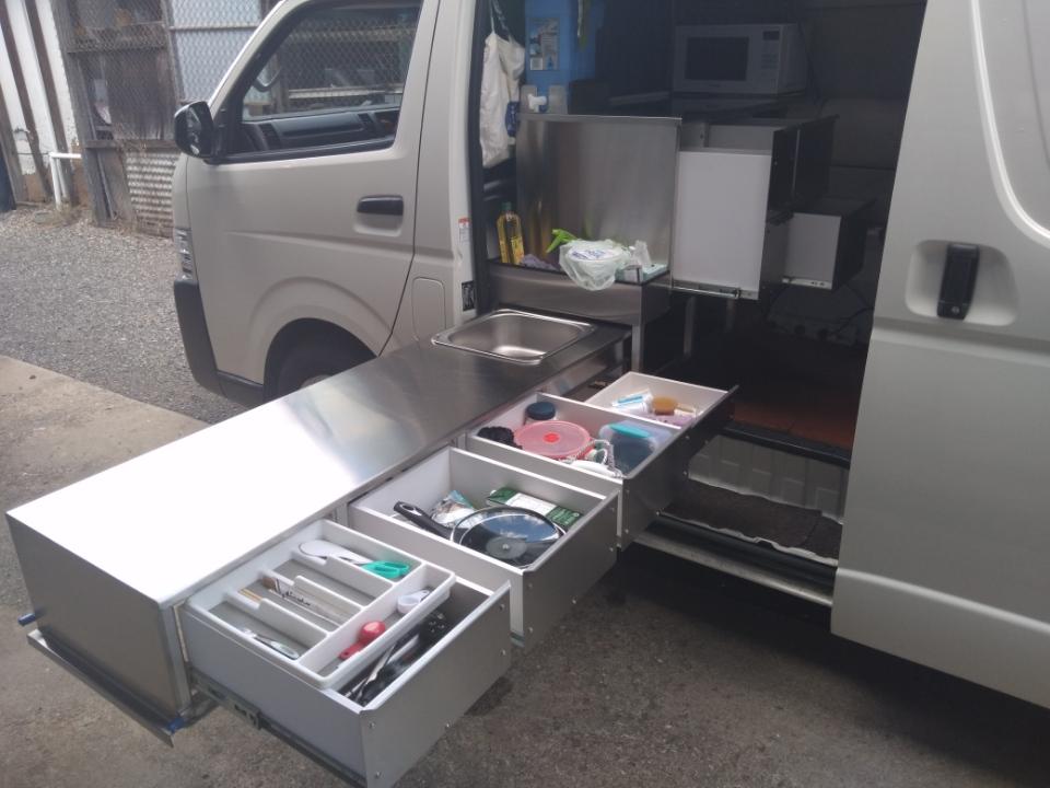 Van slide out storage kitchen